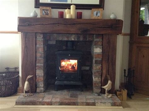 solid aged oak wood fireplace rustic surround