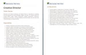 Creative Director Description by Description Templates And Events On