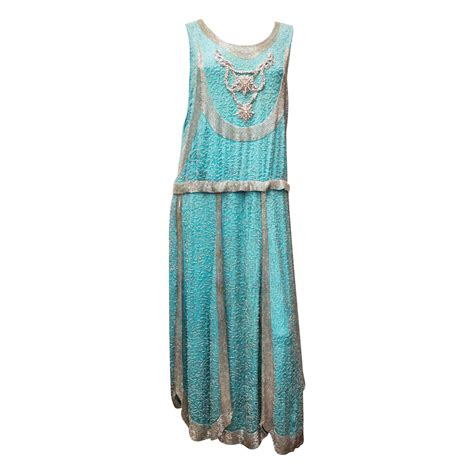 1920 beaded dresses for sale 1920s beaded aqua flapper dress for sale at 1stdibs