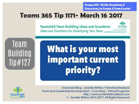 blog posts builderpriority teams365 1171 team building tip 127 what s your most