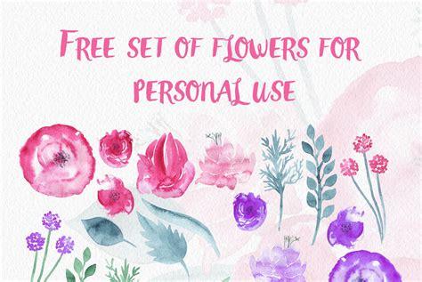 free printable watercolour flowers free watercolor flowers by thehungryjpeg thehungryjpeg com