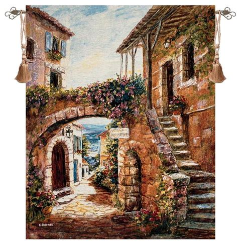 quaint town countryside view tapestry wall hanging h50 quot x w70 quot city country scenes