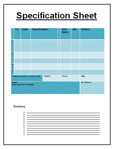 technical specification template exle specification sheet template free sheet templates