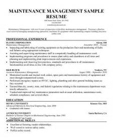 Facilities Maintenance Manager Sle Resume by Facility Manager Resume Images