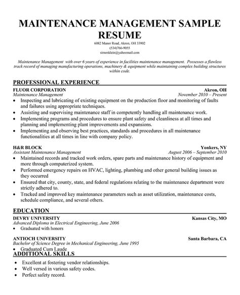 Maintenance Supervisor Resume by Resume Format For Maintenance Manager Dissertationmotivation X Fc2