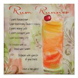 rum runner cocktail recipe wall decor poster zazzle