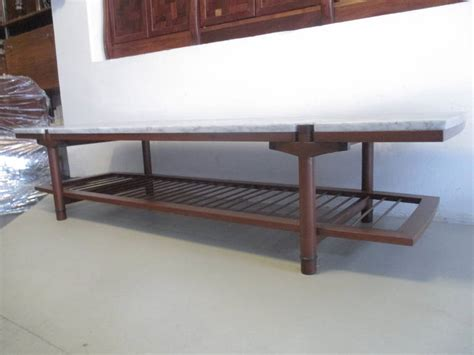 midcentury mexican coffee table of wood marble and enamel