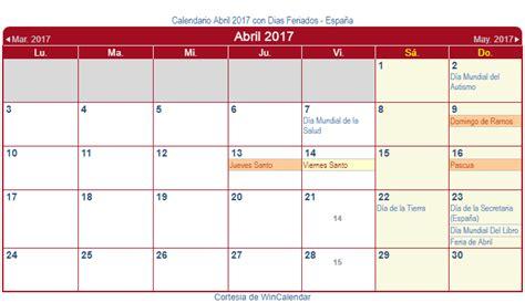 calendario d abril asignacion 2017 calendario abril 2017 para imprimir espa 241 a