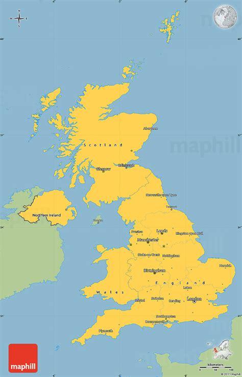 Kintakun Singel United Kingdom savanna style simple map of united kingdom single color outside