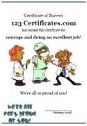 Printable bravery certificate templates and bravery awards to print