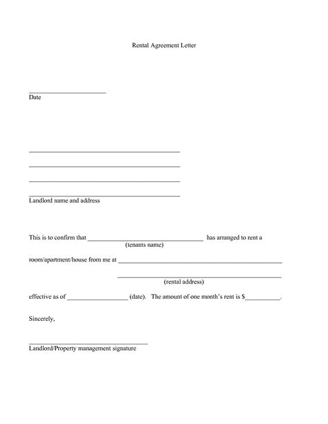 lease agreement letter template best photos of free letters of agreement free printable
