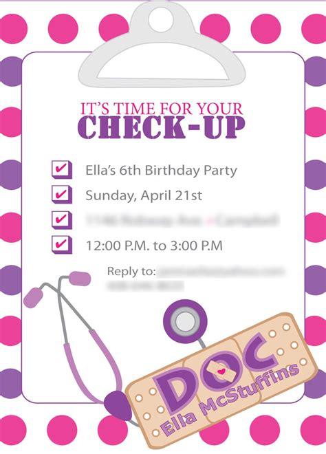 Doc Mcstuffins Inspired Birthday Invites Template Only Diy Print 15 00 Via Etsy Doc Doc Invitation Template