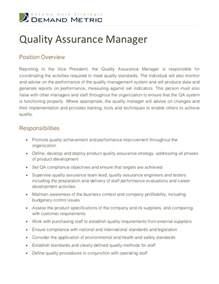 Quality Assurance Resume Exles by Quality Assurance Manager Description