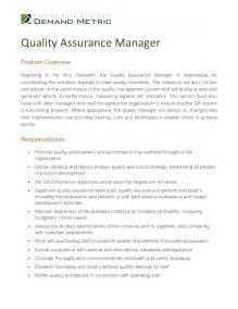 Manager Description by Quality Assurance Manager Description