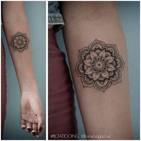mandala arm tattoo mandala forearm artist irene bogachuk