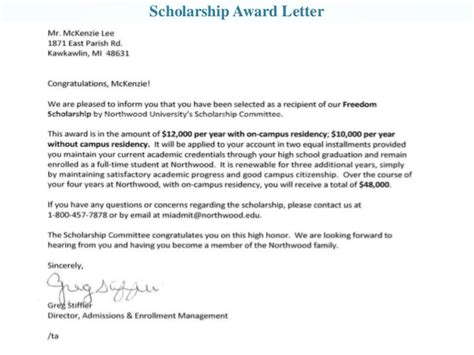 Scholarship Award Letter Exles Career Development Portfolio