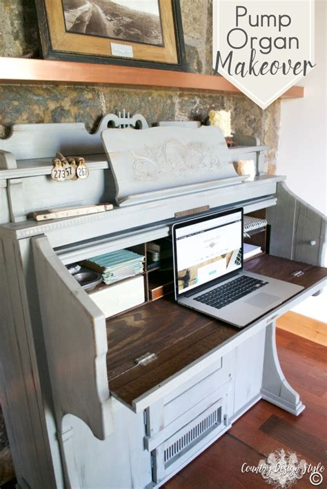 Country Style Working Desk Laptop Organ Makeover With Lots Of Storage Country Design Style