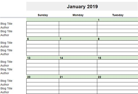 editorial calendar  google sheets young