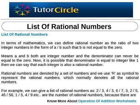 list of list of rational numbers by tutorcircle team issuu