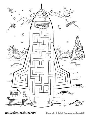 printable themed mazes rocket ship maze make your way up into the driver s seat