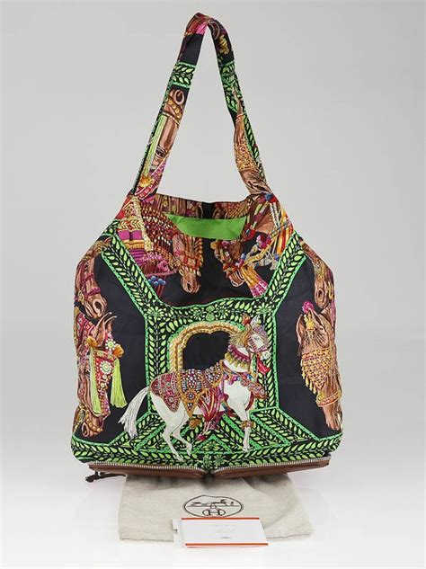 Reusable Shopper Hermes Silky Pop Handbag by Hermes Multicolor Silk Marwari Le Sac Silky Pop Tote Bag