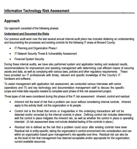 technology assessment report template risk assessment 7 free sles exles format