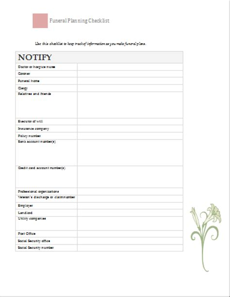 funeral planner template funeral planning checklist template document templates