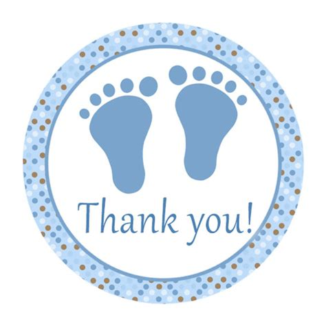 thank you sticker template instant blue brown circle baby shower thank you tags