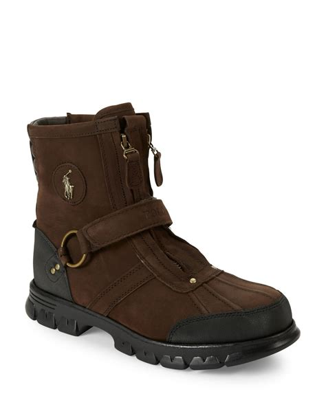 polo ralph conquest leather boots in brown for