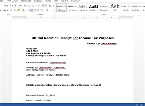 tax receipt for donation template doc create donation tax receipts from salesforce webmerge