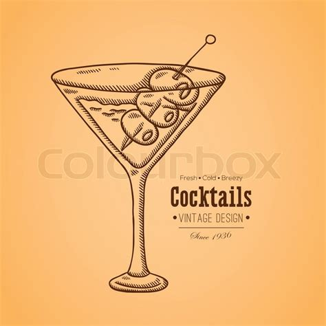 vintage martini illustration vintage illustration of cocktail easily editable vector