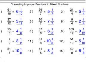 converting improper fractions into mixed numbers
