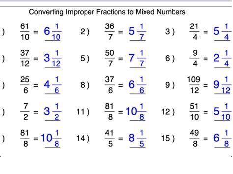 improper fraction to mixed number worksheet converting improper fractions into mixed numbers boxfirepress