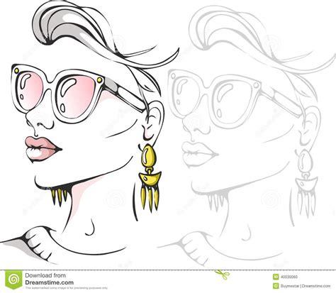 vector illustration of a stylish stylish fashion girl face portrait vector illustration