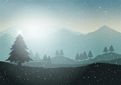 winter christmas tree landscape   vector art stock graphics images