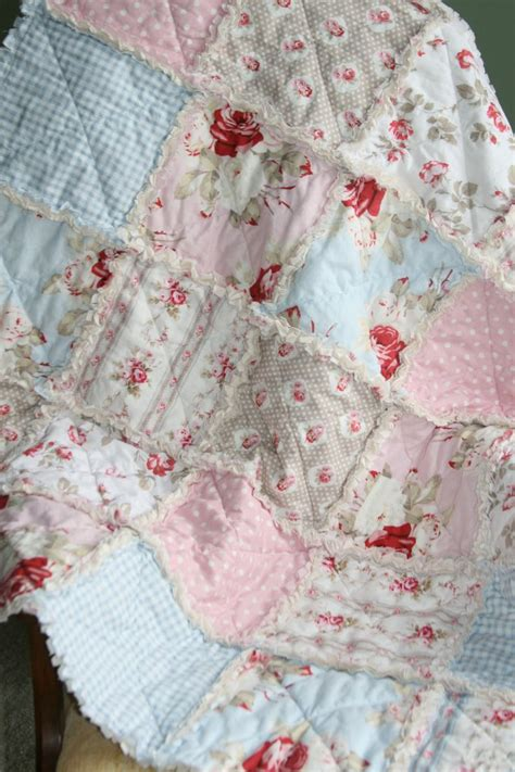 crib rag quilt baby girl crib bedding shabby chic by