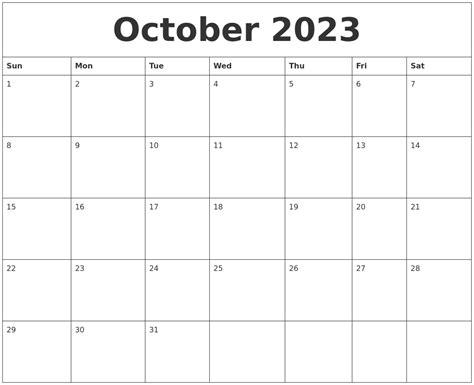 october weekly printable calendar october 2023 monthly calendar to print