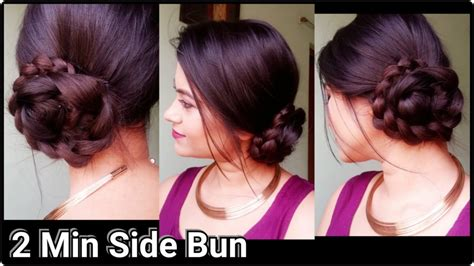 indian hairstyles for evening party 2 min side bun indian hairstyles for saree for medium to