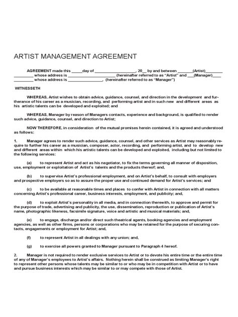 Artist Contract Template 2 Free Templates In Pdf Word Excel Download Artist Management Plan Template