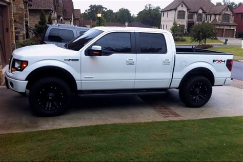 white truck black rims lets see white trucks with black or machined rims ford