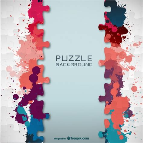 puzzle design elements vector puzzle pieces and colorful paint splashes background