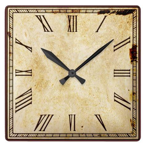 printable square clock face rustic vintage look square roman numeral clock zazzle