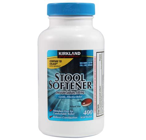 Stool Softeners by Kirkland Signature Stool Softener Docusate Sodium 100 Mg 400 Softgels Ebay