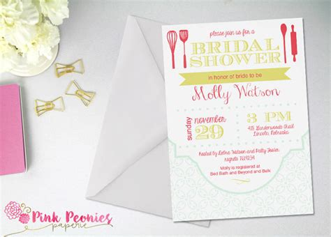Gift Card Bridal Shower Theme by Bridal Shower Invitation Kitchen Theme By Pinkpeoniespaperie