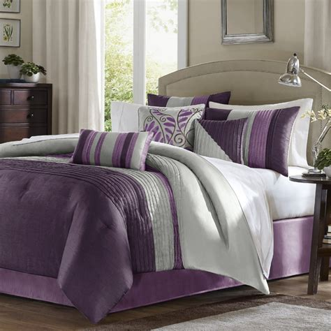 purple queen bedding madison park amherst 7 piece comforter set purple