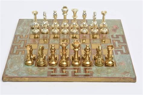 mid century modern chess set greek key mid century modern chrome brass and copper chess set sale at 1stdibs