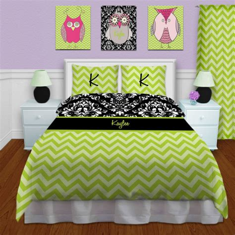 modern green bedding damask black and white print