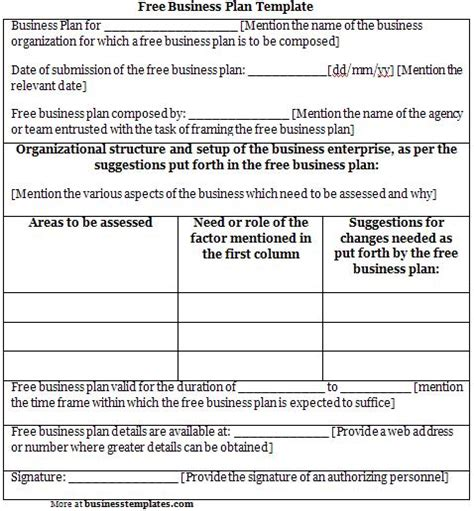 free business plan template sle business templates