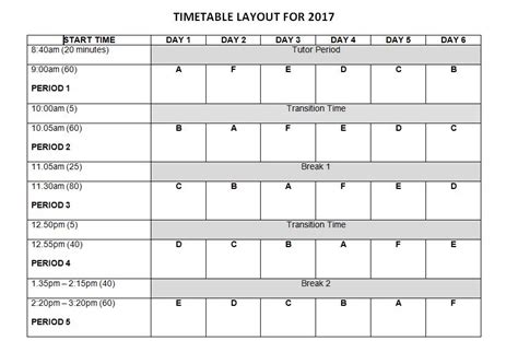 roster timetable template timetable template rangitoto college
