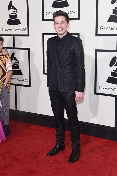 charlie puth grammy celebrities style at 58th annual 2016 grammy awards